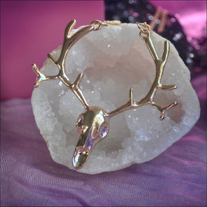 Jewelry - Gold Deer Stag Skull Necklace